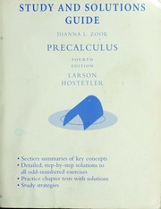 Study and solutions guide : Precalculus, fourth edition