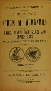 Picture of Premium List of Prices Paid by John M. Hubbard [Prices Paid For List]