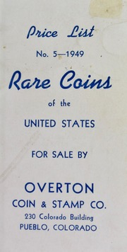 Price List No. 5--1949, Rare Coins of the United States