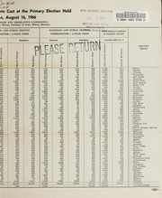 Report of the official canvass of the vote cast at the primary election, 1966
