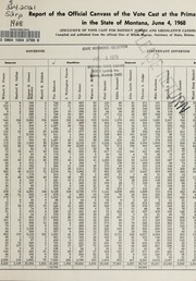 Report of the official canvass of the vote cast at the primary election, 1968