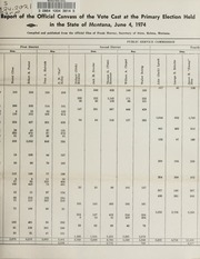 Report of the official canvass of the vote cast at the primary election, 1974