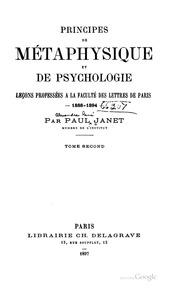 Vol 2: Principes de métaphysique et de psychologie; leçons profesées à la Faculté des lettres de Paris, 1888-1894