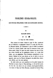 Vol 3: Problèmes géographiques. Les peuples étrangers chez les historiens chinois ..