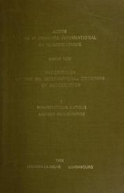 Proceedings of the 9th International Congress of Numismatics, September, 1979 / eds.: Tony Hackens [and] Raymond Weiller. / Vol. I: Ancient Numismatics