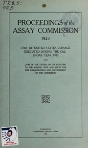 Proceedings of the Assay Commission: 1923