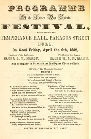 Programme of the Latter Day Saints' Festival (1851)