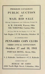 Public auction and mail bid sale : offering consignments and collections formed by B.W. Folsom ...Sol Toronski ... [10/17/1941]