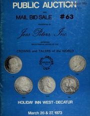 Public auction and mail bid sale #63, presented by Jess Peters, Inc., offering an extensive listing of crowns and talers of the world ... [03/27-28/1973]