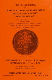 Public auction of gold, platinum and silver coins ... [09/20-22/1973]