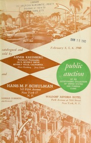 Public auction of an outstanding collection of United States and foreign coins. [02/04-06/1960]