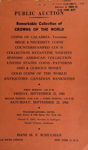 Public auction : remarkable collection of crowns of the world ... [09/21-22/1956]