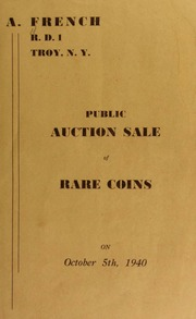 Public auction sale of rare coins. [10/05/1940]