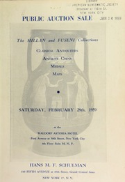 Public auction sale featuring the Millan and Fuseni collections et al of classical antiquities ... [02/28/1959]