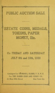 Public Auction Sale, Estate Coins, Medals, Tokens, Paper Money, Etc. [Craig Clare Collection]
