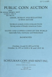 Public coin auction : Greek, Roman and Byzantine in silver and gold ... [10/14-16/1971]