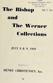 Public and mail auction sale : the bishop collection ... : the Werner collection of Alto Peru ... [07/08-09/1969]