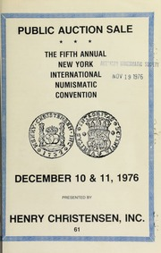 Public and mail auction sale at the fifth annual New York international numismatic convention ... [12/10-11/1976]