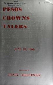Public and mail auction sale : Pesos, crowns, talers ... [06/28/1966]