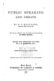 rudiments of public speaking and debate or hints on the  public speaking and debate an essay on sacred eloquence by henry rogers revised
