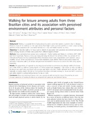 Vol 8: Walking for leisure among adults from three Brazilian cities and its association with perceived environment attributes and personal factors.