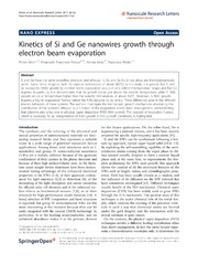 Vol 6: Kinetics of Si and Ge nanowires growth through electron beam evaporation.