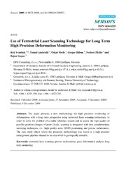 Vol 9: Use of Terrestrial Laser Scanning Technology for Long Term High Precision Deformation Monitoring.