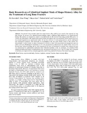 Vol 6: Basic Research on a Cylindrical Implant Made of Shape-Memory Alloy for the Treatment of Long Bone Fracture.