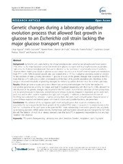 Vol 13: Genetic changes during a laboratory adaptive evolution process that allowed fast growth in glucose to an Escherichia coli strain lacking the major glucose transport system.