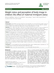 Vol 11: Weight status and perception of body image in children: the effect of maternal immigrant status.