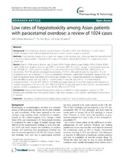 Vol 13: Low rates of hepatotoxicity among Asian patients with paracetamol overdose: a review of 1024 cases.