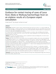 Vol 12: Guidance for contact tracing of cases of Lassa fever, Ebola or Marburg haemorrhagic fever on an airplane: results of a European expert consultation.
