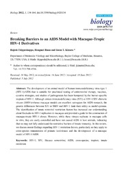 Vol 1: Breaking Barriers to an AIDS Model with Macaque-Tropic HIV-1 Derivatives.