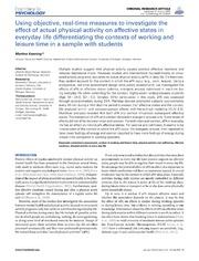 Vol 3: Using Objective, Real-Time Measures to Investigate the Effect of Actual Physical Activity on Affective States in Everyday Life Differentiating the Contexts of Working and Leisure Time in a Sample with Students.