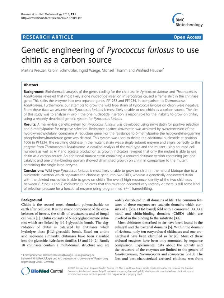 Vol 13: Genetic engineering of Pyrococcus furiosus to use chitin as a carbon source.