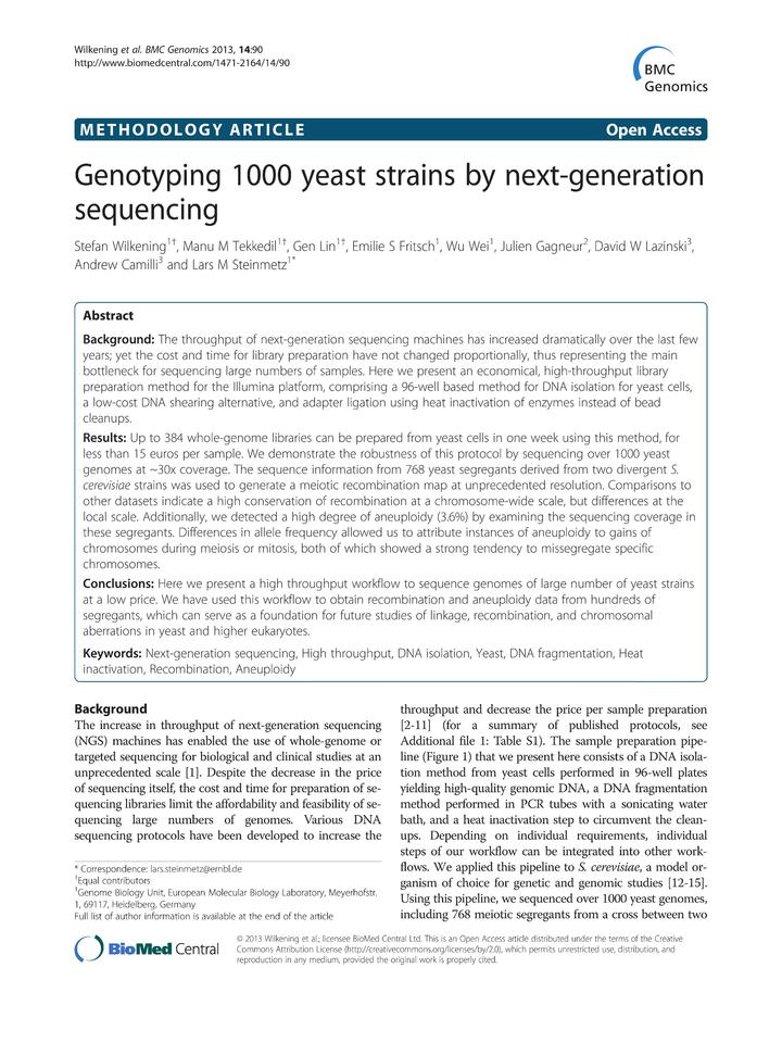 Vol 14: Genotyping 1000 yeast strains by next-generation sequencing.