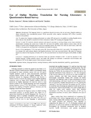 Vol 7: Use of Online Machine Translation for Nursing Literature: A Questionnaire-Based Survey.