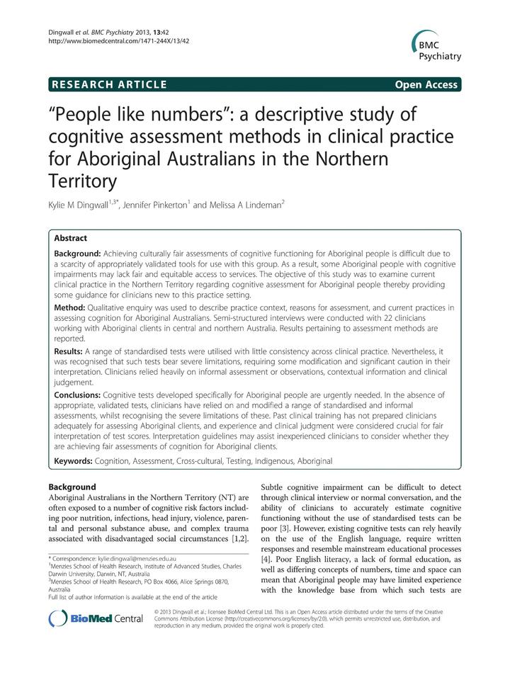 Vol 13: People like numbers: a descriptive study of cognitive assessment methods in clinical practice for Aboriginal Australians in the Northern Territory.