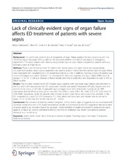 Vol 6: Lack of clinically evident signs of organ failure affects ED treatment of patients with severe sepsis.