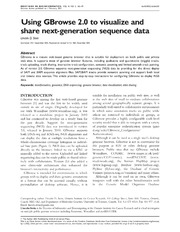 Vol 14: Using GBrowse 2.0 to visualize and share next-generation sequence data.
