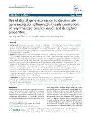 Vol 14: Use of digital gene expression to discriminate gene expression differences in early generations of resynthesized Brassica napus and its diploid progenitors.