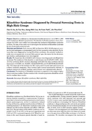 Vol 54: Klinefelter Syndrome Diagnosed by Prenatal Screening Tests in High-Risk Groups.