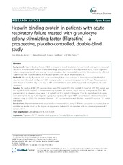 Vol 13: Heparin binding protein in patients with acute respiratory failure treated with granulocyte colony-stimulating factor (filgrastim) - a prospective, placebo-controlled, double-blind study.