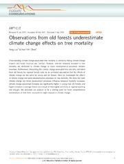 Vol 4: Observations from old forests underestimate climate change effects on tree mortality.