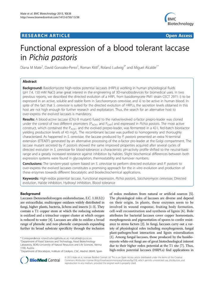 Vol 13: Functional expression of a blood tolerant laccase in Pichia pastoris.