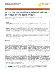 Vol 12: Gene expression profiling reveals distinct features of various porcine adipose tissues.