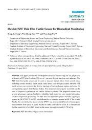 Vol 13: Flexible PZT Thin Film Tactile Sensor for Biomedical Monitoring.