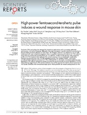 Vol 3: High-power femtosecond-terahertz pulse induces a wound response in mouse skin.