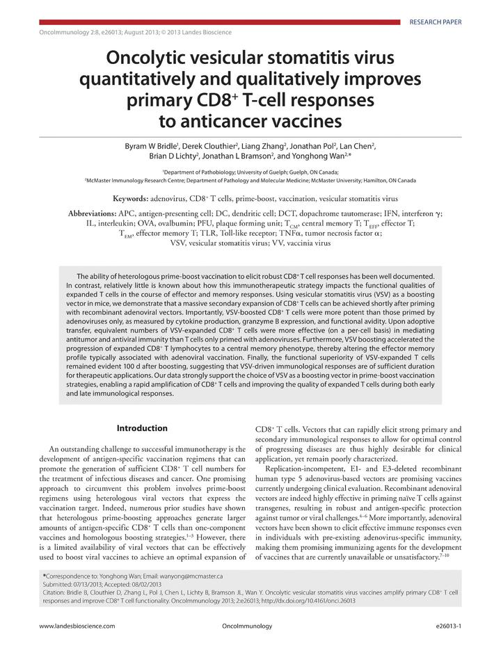 Vol 2: Oncolytic vesicular stomatitis virus quantitatively and qualitatively improves primary CD8  T-cell responses to anticancer vaccines.