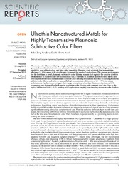 Vol 3: Ultrathin Nanostructured Metals for Highly Transmissive Plasmonic Subtractive Color Filters.